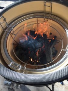 Olive wood cooking charcoal in cooker